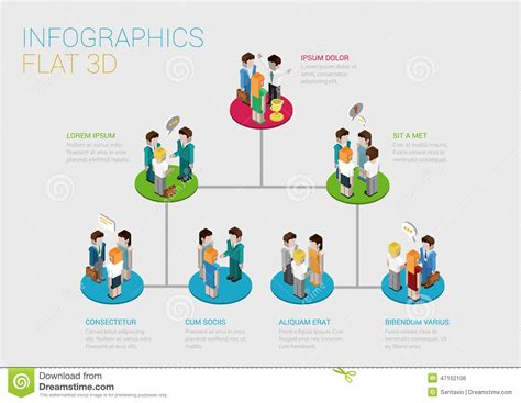 website layout hierarchy flat d isometric web infographic organization chart