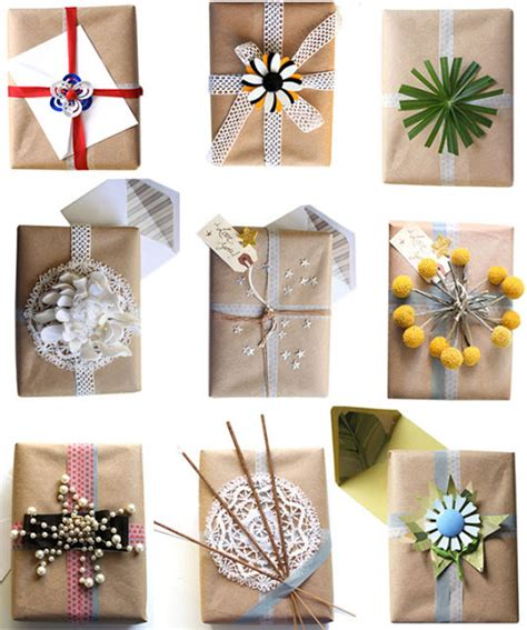 Wrapping Paper Crafts - burlap and brown paper gift wrap ideas crafts a la mode