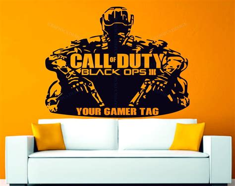 Personalised Name Wall Stickers call of duty black ops 3 personalised gamer tag decor