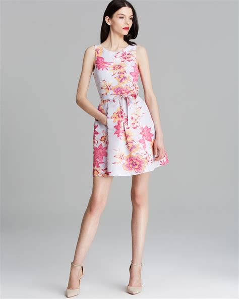 Zackynza Flowery Flare Mini Dress tracy reese dress sleeveless hawaiian floral print fit and flare in pink lyst