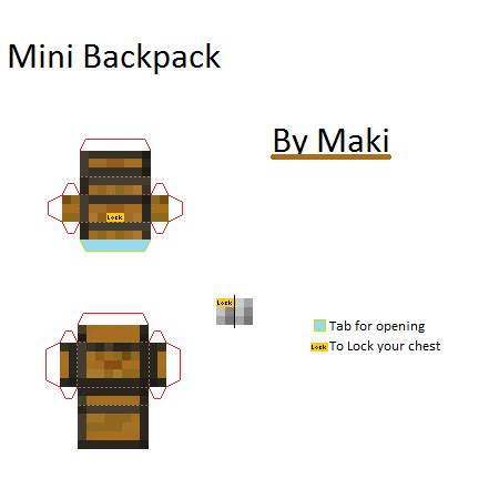 Minecraft Papercraft Pack - papercraft mini normal backpack minecraft