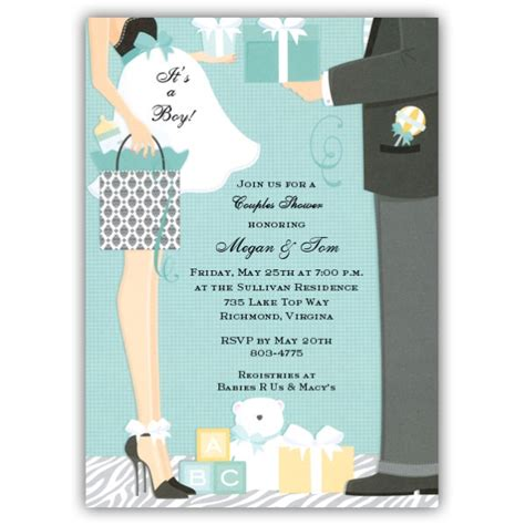 Boy Baby Shower Invitations by Damask Bag Boy Baby Shower Invitations Paperstyle