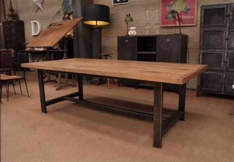modernas mesas de comedor en hierro  madera tipo