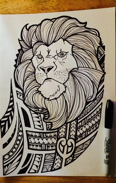 design art meaning lion with polynesian tribal joel jalayahay art polynesian