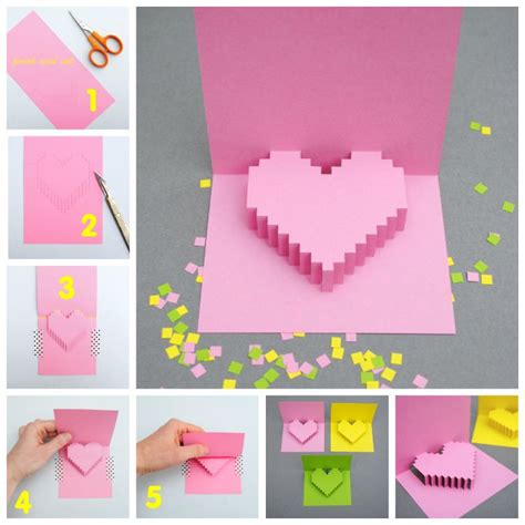 Creative Ideas For Birthday Card Creative Ideas Diy Pixel Heart Popup Card