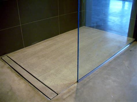 linear shower drain Bathroom Modern with barrier free