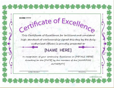 certificate of excellence template for ms word at