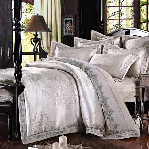silver comforter king luxury silver jacquard bedding set with lace queen king