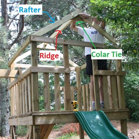 Build An A Frame House how to add a roof to a diy wooden playground playset
