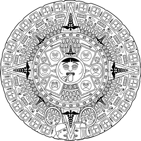 aztec calendar coloring pages