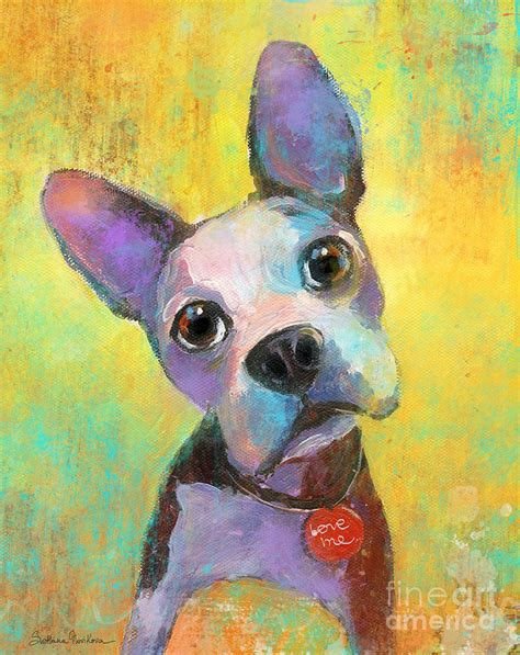 puppy painting boston terrier puppy painting print by svetlana novikova