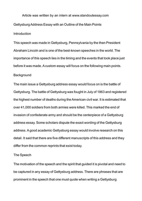 Gettysburg Essay by An Essay On The Gettysburg Address Writersstuff Web Fc2