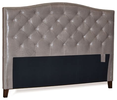 King Leather Headboard Grey Genuine Leather Tufted Headboard With Pewter Nail Heads Transitional
