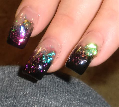 pink glitter acrylic nail designs glitter nail fascinating cosmic theme glitter black