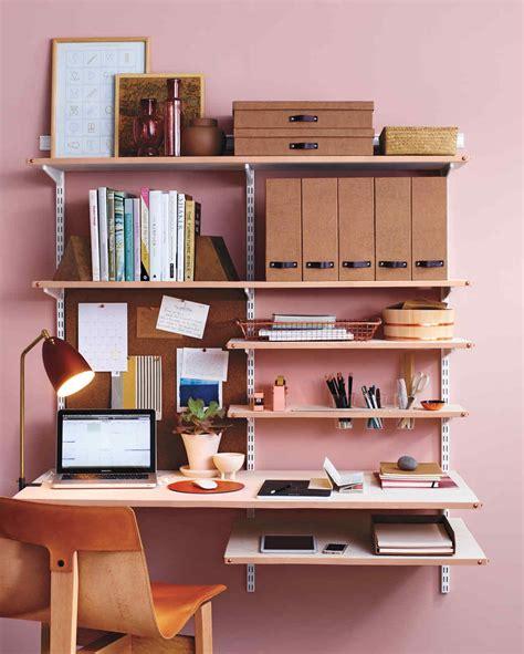 Desk Shelf Ideas Diy Leather Shelf Edging For A Chic Home Office Martha Stewart