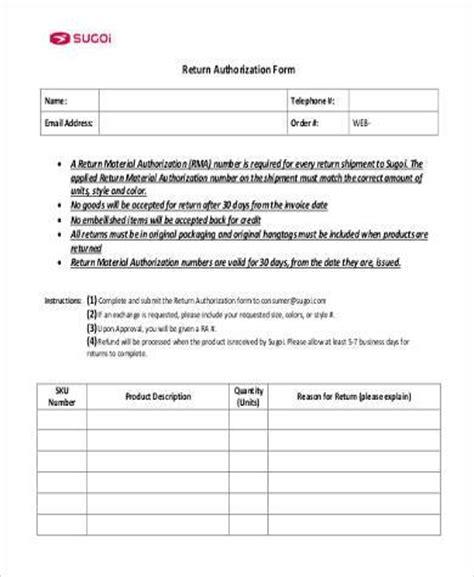 Sle Return Authorization Forms 8 Free Documents In Pdf Free Return Authorization Form Template