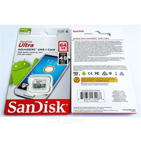 Micro Sd 64gb Class 10 Sandisk sandisk ultra microsdxc 64gb uhs i card 48mb s class 10 memory card free shipping dealextreme