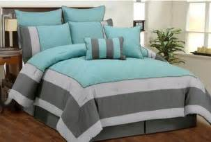aspen aqua blue smoke gray quilted comforter bed in a