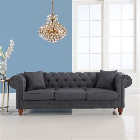 Fabric Chesterfield Style Sofa Classic Linen Fabric Tufted Button Chesterfield Style Sofa Grey Ebay