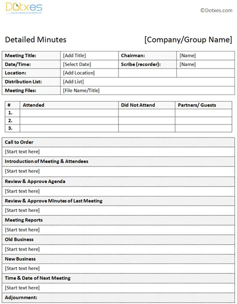 Sle Of Minutes Of Meeting Descriptive Format Dotxes Microsoft Meeting Minutes Template