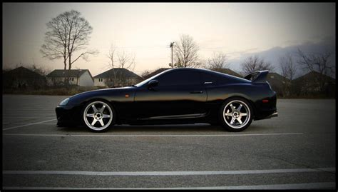 Toyota Supra Black Toyota Supra On Volk Te37 Wheels Rides Styling