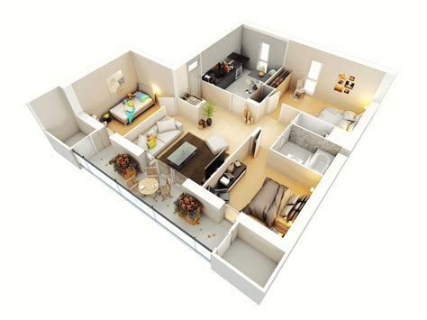 home design 3d 1 3 1 mod 3d three bedroom house layout design plans 23034