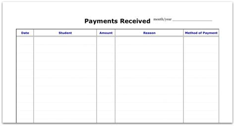 digital version spreadsheet for payments received