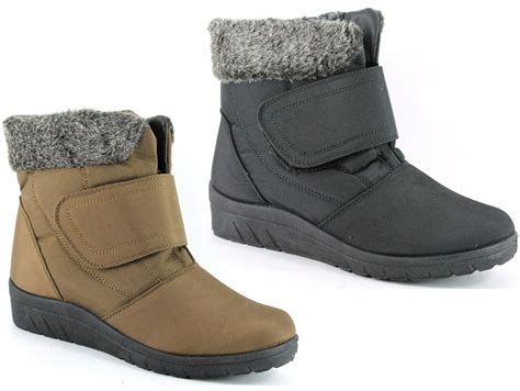 new womens snow wide fit velcro winter fur lined