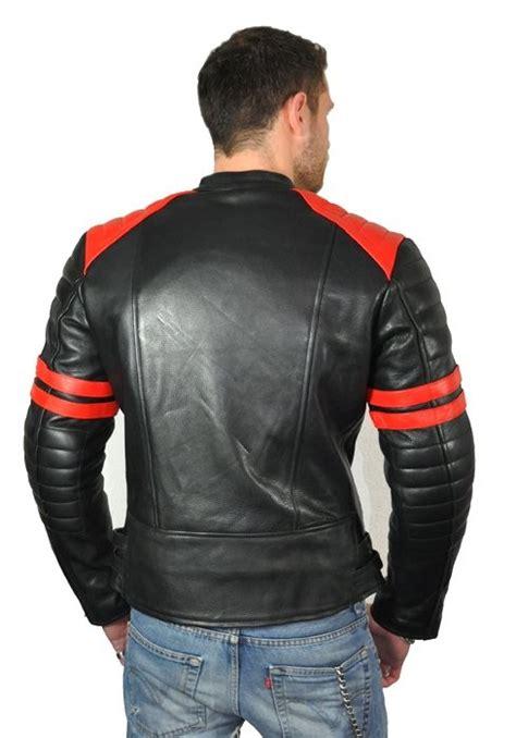 Motorrad Lederjacke Rot oldschool motorradjacke schwarz rot