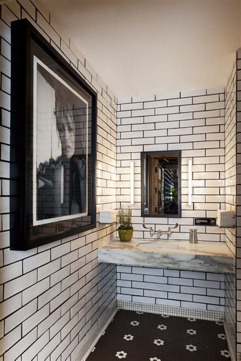 white bathroom tiles with black grout white subway tiles with black grout and black tile floor