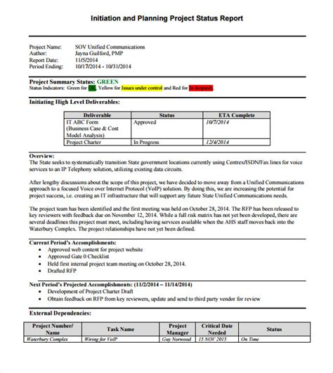 project status report template 14 sle project status reports sle templates
