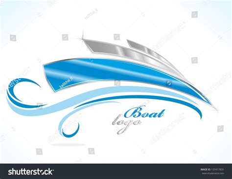 blue wave boats logo business boat logo blue waves stock vector 137417831