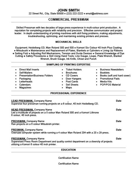 Cv In Commercial Commercial Pressman Resume Template Premium Resume Sles Exle