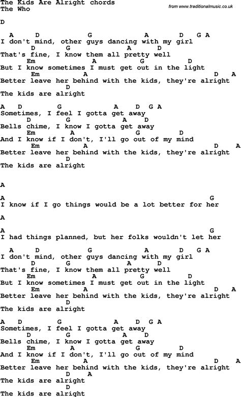 with lyrics song lyrics with guitar chords for the are alright