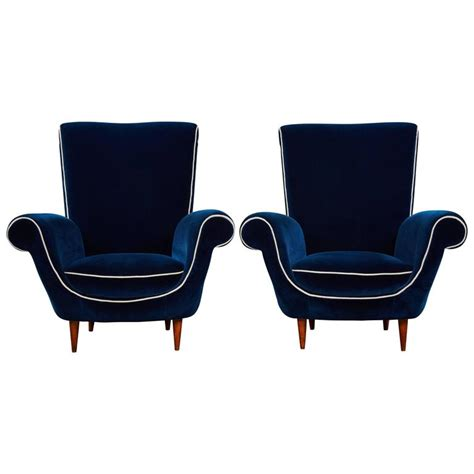 Blue Armchairs For Sale Pair Of Ico Parisi Attributed Blue Velvet Armchairs For