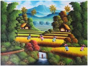 Tropical Beach Wall Murals gambar lukisan pemandangan sawah padi