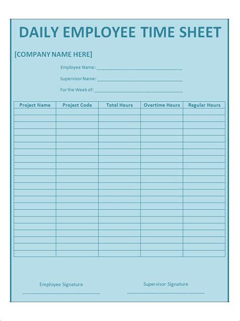 employee timesheet template time sheet calculator templates 15 free