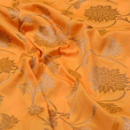 yellow leaf pattern fabric buy yellow and golden leaf pattern brocade silk fabric 5372