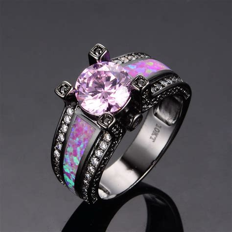 pink sapphire opal wedding band ring black gold
