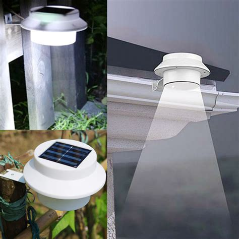 garden 3 led solar power fence gutter light super bright
