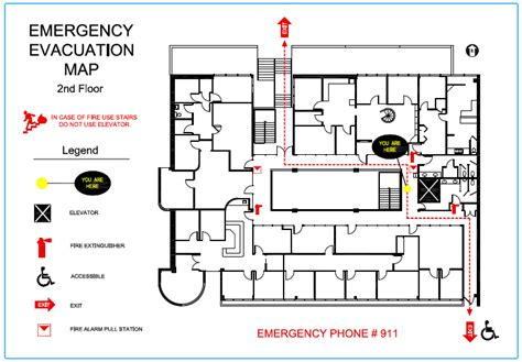 Precision Floor Plan 187 Emergency Evacuation Maps Building Evacuation Map Template