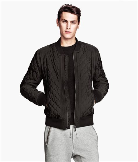 H Jaket h m quilted sweatshirt jacket in black for lyst