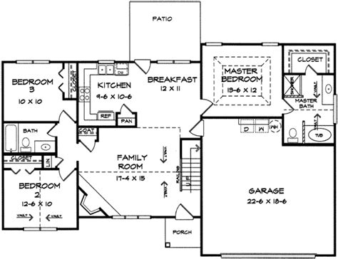 split ranch house plans split bedroom ranch with bonus 3653dk 1st floor master