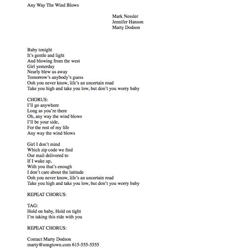 Pro Lyric Sheet Sle For Songwriters Lyric Template