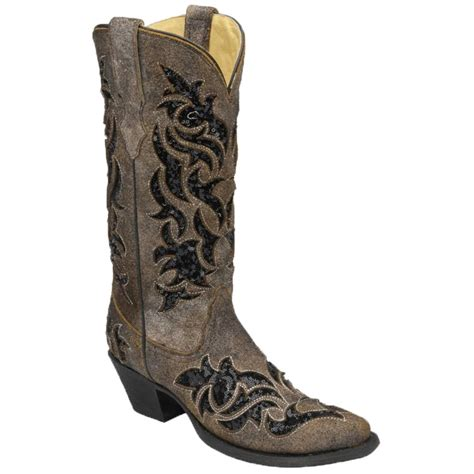corral s brown and black sequin inlay boots d d