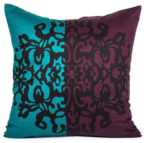 Purple And Turquoise Pillows by Black Damask Motif Purple Turquoise Bold Stripe Throw