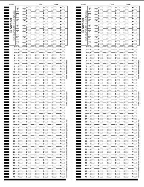 printable quiz answer sheets pearson print test sheet evaluation testing sheet zip scan