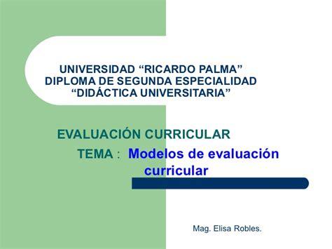 Modelo De Evaluacion Curricular Modelos De Evaluaci 243 N