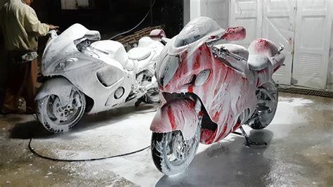 motorcycle snow steam wash suzuki hayabusa