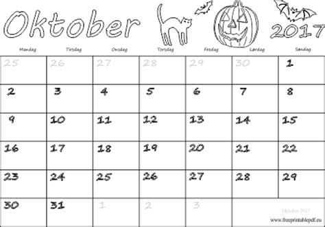 Oktober Kalender 2017 Kalender For Oktober M 229 Ned 2017 Print Gratis Printable Pdf